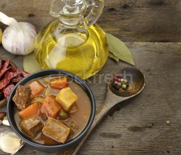 Stock fotó: Marhahús · leves · zöldségek · közelkép · lövés · hús