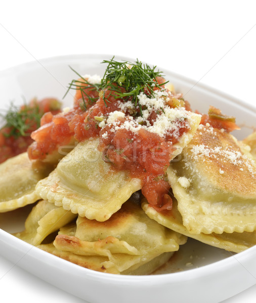Ravioli pasta tomatensaus kaas kruiden maaltijd Stockfoto © saddako2