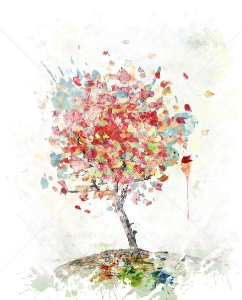 Suluboya Görüntü Sonbahar Ağaç Dijital Boyama Stok