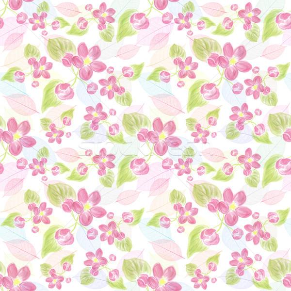 Bloemen bladeren roze oneindig textuur Stockfoto © saddako2