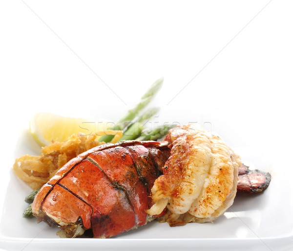 Stock fotó: Grillezett · homár · farok · felszolgált · spárga · hagyma