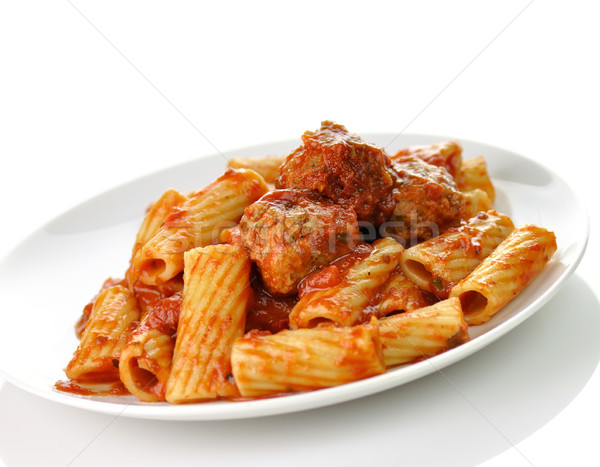 Rigatoni with tomato sauce and meatballs.  Stock photo © saddako2