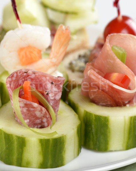 Antipasti affumicato carne frutti di mare verdura toast Foto d'archivio © saddako2