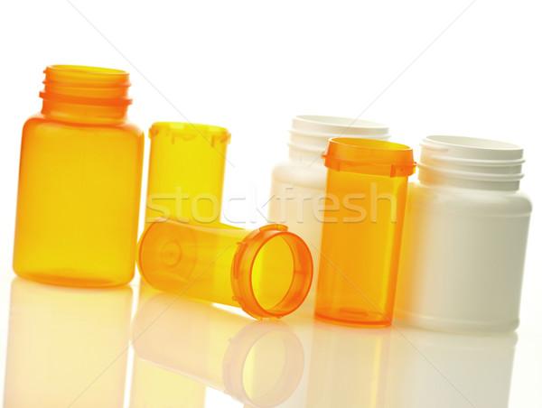 üres tabletta üvegek fehér narancs gyógyszer Stock fotó © saddako2