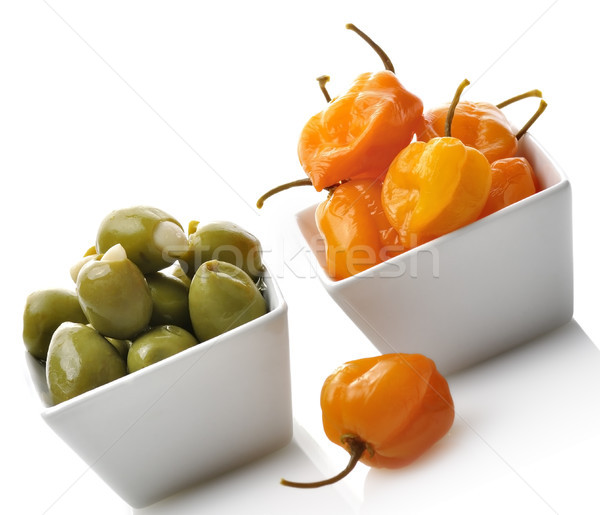 Foto stock: Amarelo · pimenta · azeitonas · quente · verde · oliva