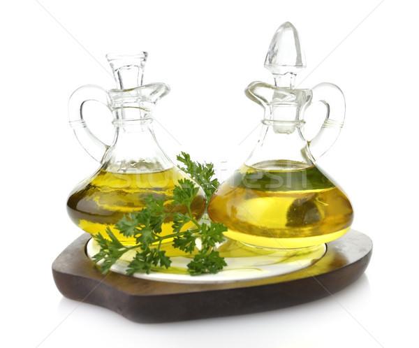 étolaj üveg üvegek fa deszka olívaolaj természetes Stock fotó © saddako2