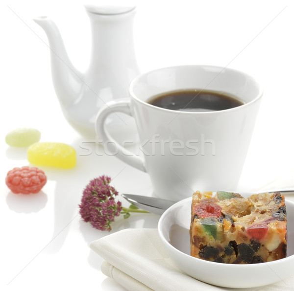 Fruitcake traditioneel christmas beker thee koffie Stockfoto © saddako2