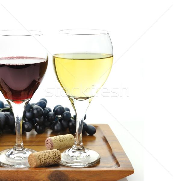 Bicchieri di vino rosso vino bianco occhiali uva formaggio Foto d'archivio © saddako2