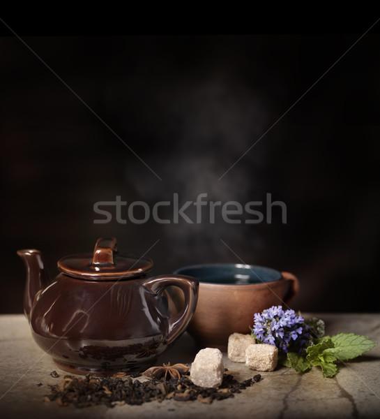 горячей чай чайник Кубок завода пар Сток-фото © saddako2