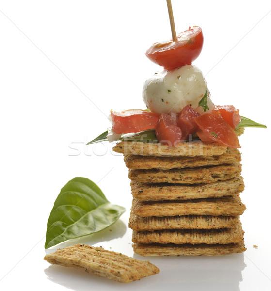 Teljeskiőrlésű búza előétel paradicsomok mozzarella sajt fűszer Stock fotó © saddako2