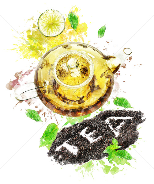 Watercolor Image Of  Tea Pot Stock photo © saddako2