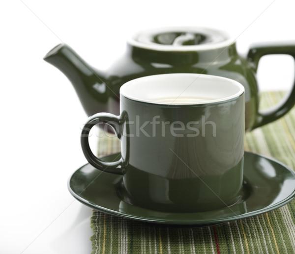 Green Tea Pot And Cup Stock photo © saddako2