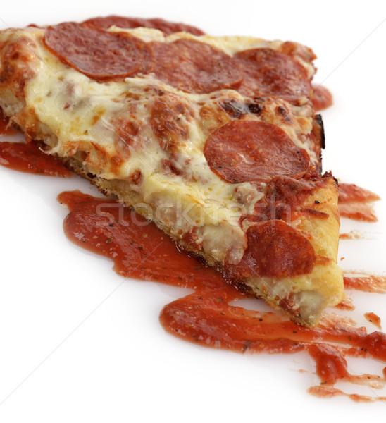 Pizza slice plakje peperoni pizza voedsel Stockfoto © saddako2
