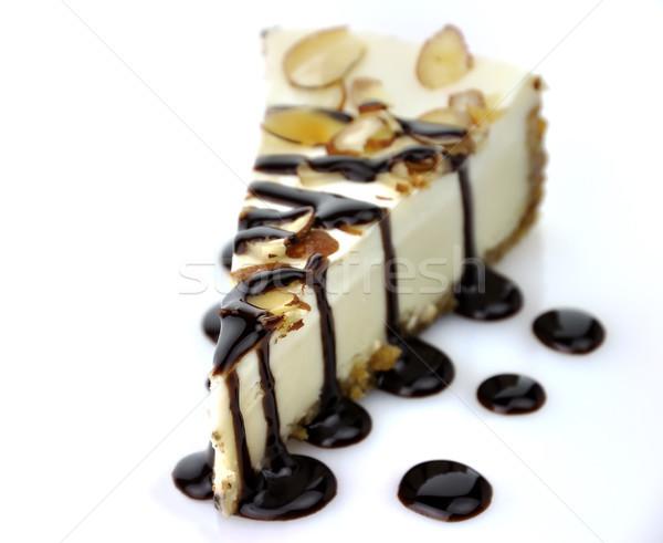 Fehér csokoládé sajttorta szelet étel édes Stock fotó © saddako2