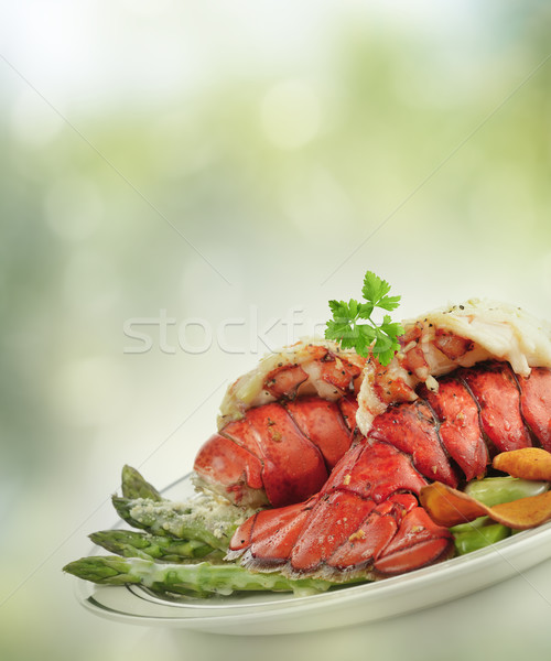 Photo stock: Grillés · homard · queue · asperges · repas · fruits · de · mer