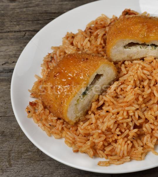 Töltött tyúk filé rizs tányér ebéd Stock fotó © saddako2
