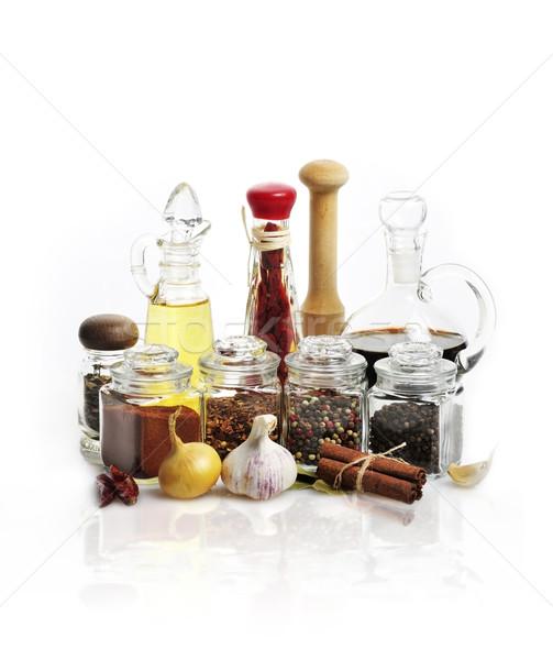 Petróleo vinagre blanco alimentos aceite de oliva especias Foto stock © saddako2