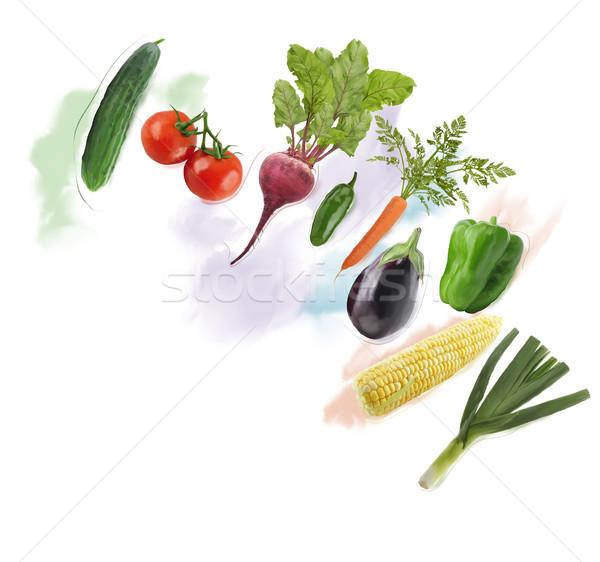 Taze sebze suluboya dijital boyama gıda yaprak Stok fotoğraf © saddako2