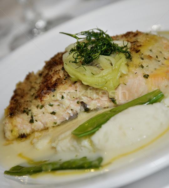 Foto stock: Salmón · patatas · verde · chícharos · placa · almuerzo