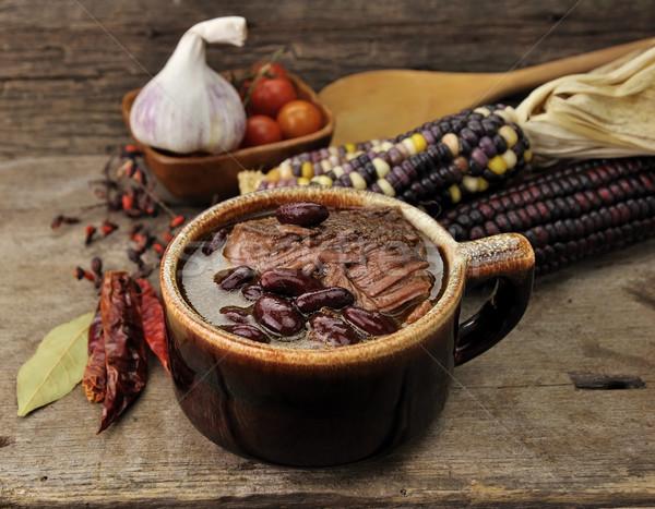 Sopa de frijol carne madera rojo tomate Foto stock © saddako2