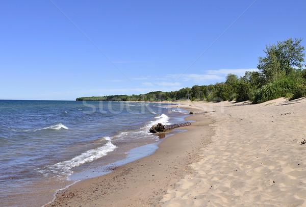 Lago view sabbia spiaggia onde cielo blu Foto d'archivio © saddako2
