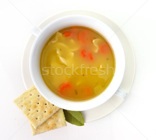 Stok fotoğraf: Tavuk · çorba · beyaz · fincan · arka · plan
