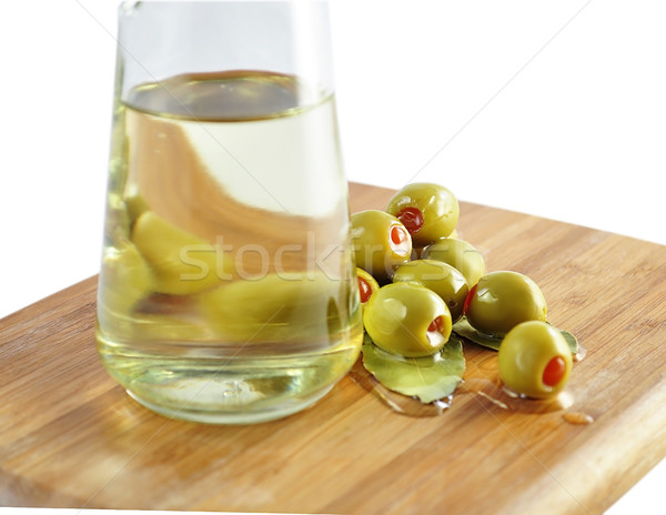 Olajbogyók étolaj zöld közelkép étel fény Stock fotó © saddako2
