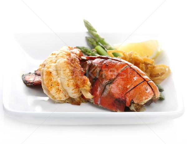 Photo stock: Grillés · homard · queue · servi · asperges · oignon