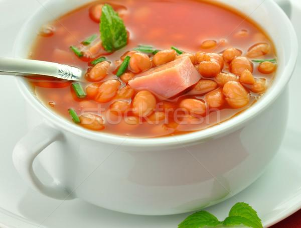 Blanco sopa de frijol jamón tomates sopa taza Foto stock © saddako2