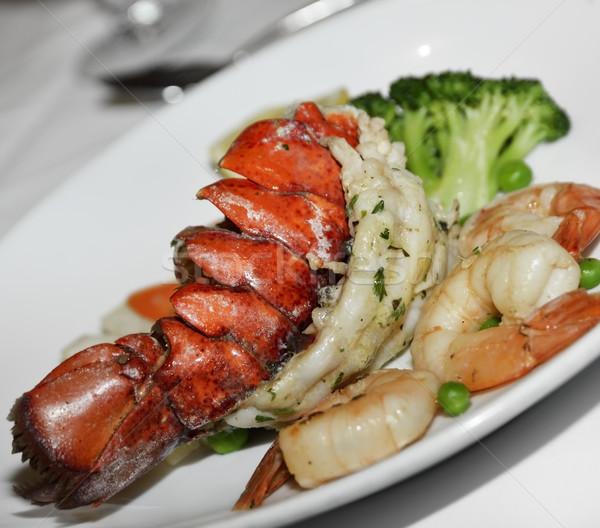 Lagosta cauda prato refeição frutos do mar Foto stock © saddako2
