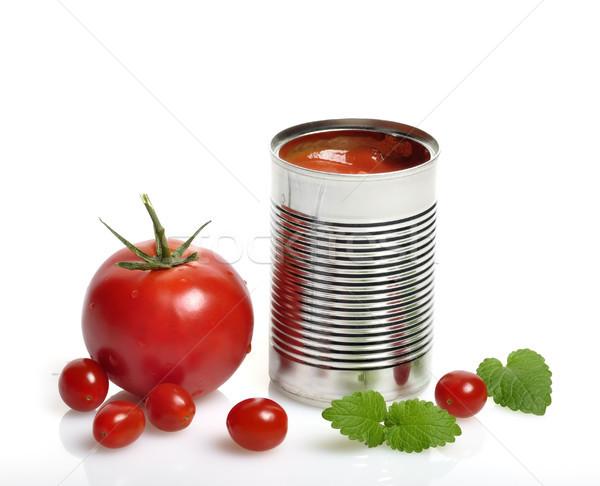 Pomodori open può crema di pomodoro fresche verde Foto d'archivio © saddako2