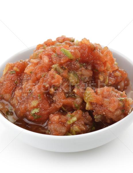 Taze salsa ev yapımı beyaz çanak gıda Stok fotoğraf © saddako2