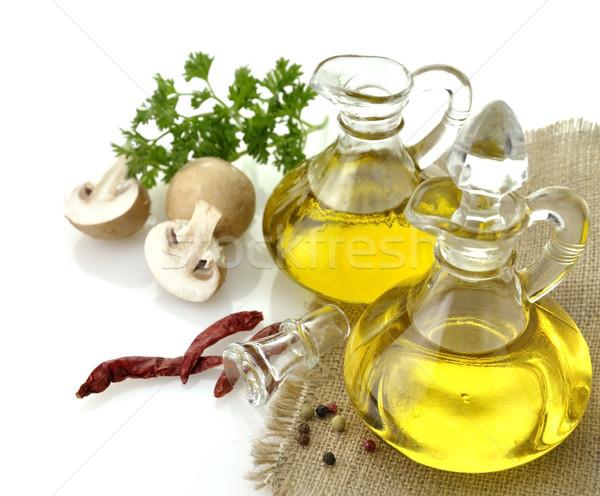 étolaj olívaolaj fűszer gombák fehér étel Stock fotó © saddako2