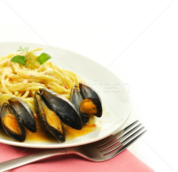 mussels with spaghetti Stock photo © saddako2