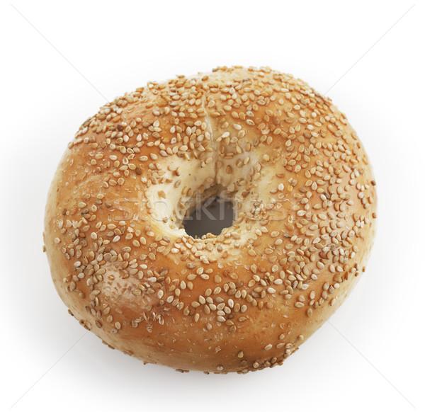 Бублики кунжут хлеб свежие белом фоне Сток-фото © saddako2
