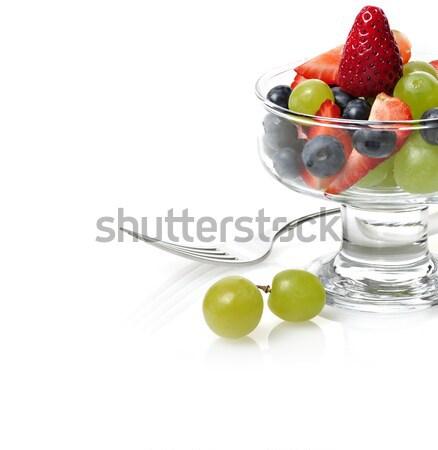 Salade de fruits fruits frais salade verre plat vert Photo stock © saddako2