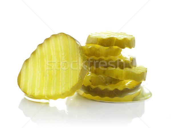 Salatalık turşusu dilimleri beyaz yeşil sebze Stok fotoğraf © saddako2