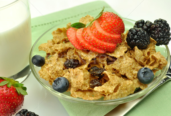 healthy breakfast with bran and raisin cereal  Stock photo © saddako2