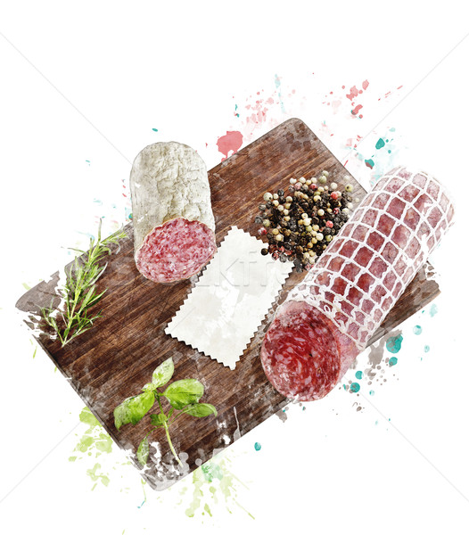 Stock photo: Watercolor Image Of  Hard Salami,Herbs and Spices