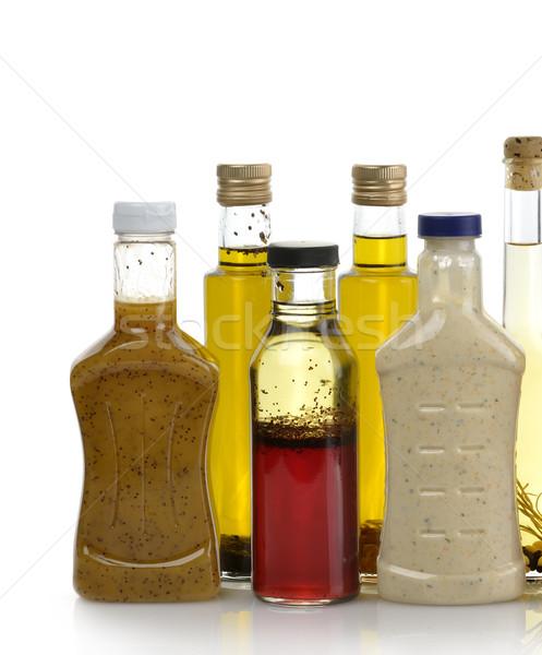 Salata zeytinyağı salata sosu şişeler gıda Stok fotoğraf © saddako2