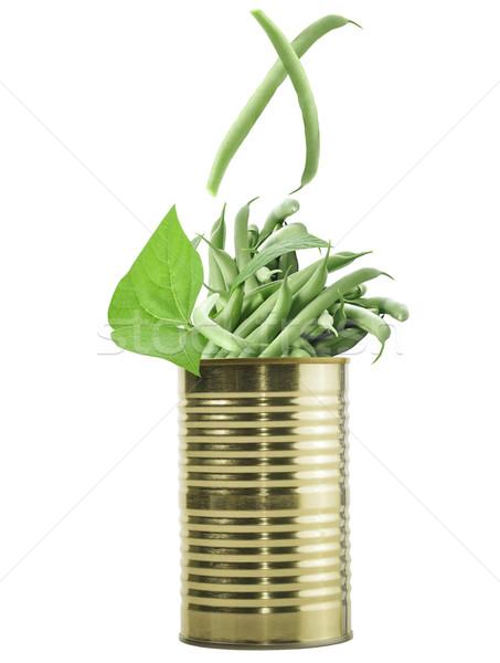 Tin può greggio fagioli verdi isolato bianco Foto d'archivio © saddako2
