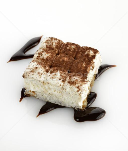Тирамису торт белый белом фоне коричневый Сток-фото © saddako2