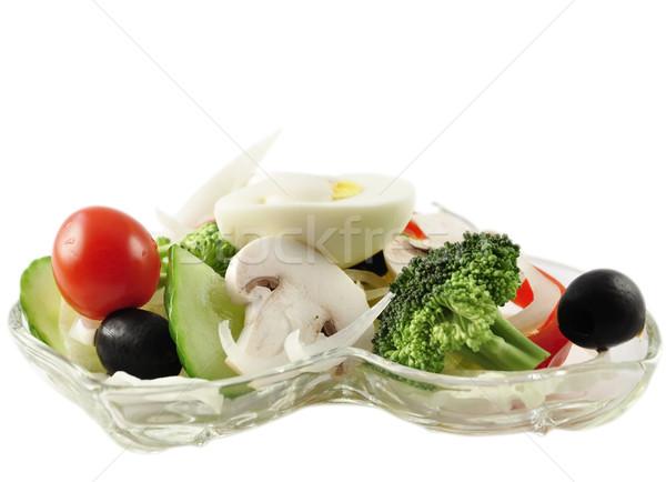 Taze salata taze sebze cam yemek beyaz Stok fotoğraf © saddako2