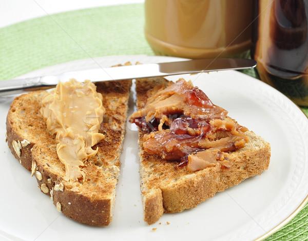 Beurre d'arachide alimentaire pain déjeuner manger déjeuner Photo stock © saddako2