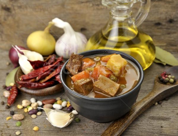 Stock fotó: Marhahús · leves · zöldségek · közelkép · lövés · konyha