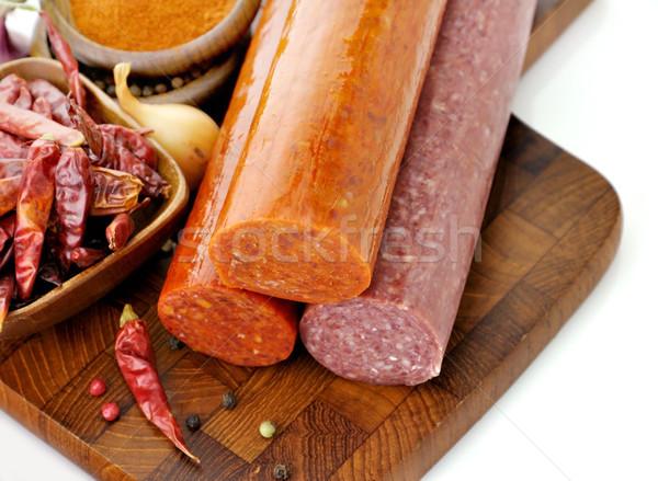 Peperoni salami specerijen Rood vlees Stockfoto © saddako2