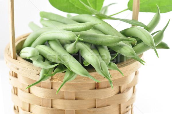зеленая фасоль свежие корзины зеленый рынке приготовления Сток-фото © saddako2