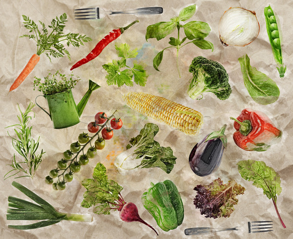 Vegetáriánus étel friss nyers étel háttér tapéta Stock fotó © saddako2