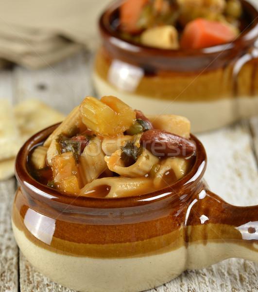 Makaron zupa jarzynowa włoski makaronu kubek zupa Zdjęcia stock © saddako2