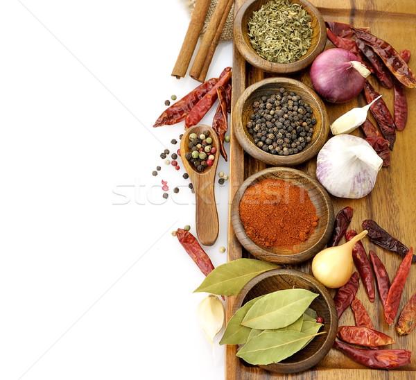 Fűszer válogatás vágódeszka felső kilátás étel Stock fotó © saddako2